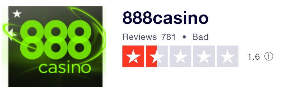 888 Casino TrustPilot score