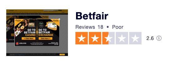 Betfair Trustpilot rating