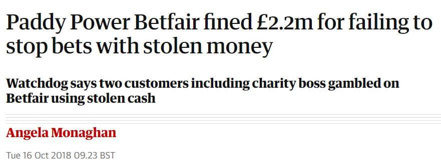 Paddy Power Betfair fined in 2018