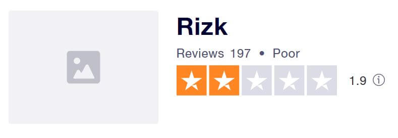 Rizk's TrustPilot score