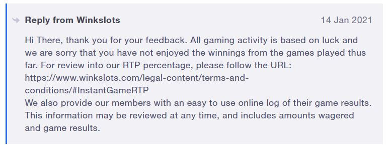 Wink Slots reply to player complaint