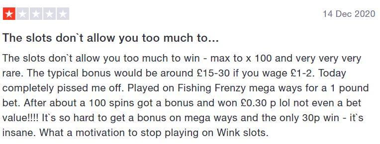 Wink Slots complaint - unfair games