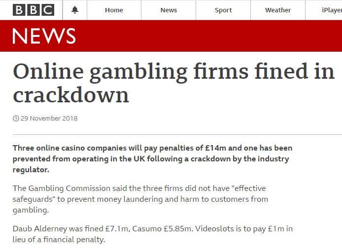 Casumo Casino's fine in 2018