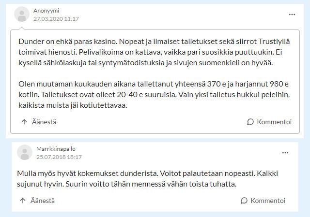 dunder casino kokemuksia suomi24