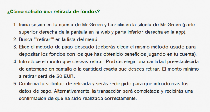 mr green retiros