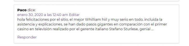 opinion de William Hill