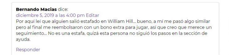 opiniones William Hill