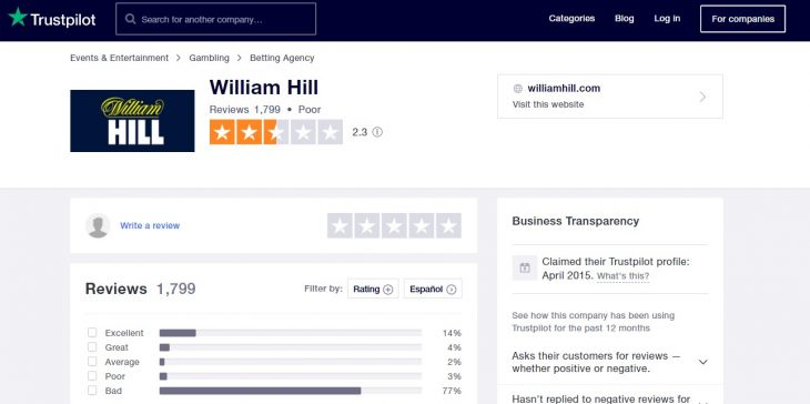 william hill opiniones trustpilot